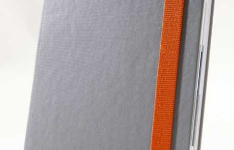Markenwerbung graues Notizbuch-Myrix-Vielfältigkeit